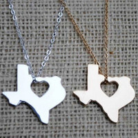 Texas Home is Where the Heart is Necklace in Gold