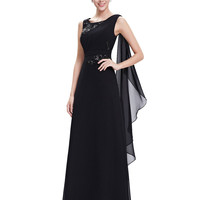 Ever Pretty Evening Party Dresses HE08693 Women's Elegant Black Round Neck Long Sleeveless 2016 New Evening Party Prom Dresses