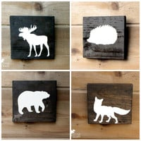 Rustic Wood Animal Wall Art - 6x6 pine,rustic nursery,rustic decor,stained wood,woodland,forest,kids room,countrychic,babyshower,cabin decor