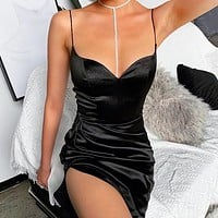 New fashion solid color split sexy slim straps dress Black