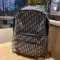 Dior new all-match full-print D letter logo large capacity backpack bag
