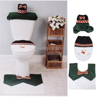 3pcs Christmas Decorations Happy Snowman Toilet Seat Cover and Rug Bathroom Set = 1946440196