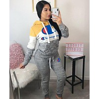 Champion Fashionable Women Print Long Sleeve Set Two-Piece Sportswear Grey