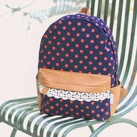 ZLYC Cute Cotton Dot Lace Backpack