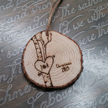 Love Birch Tree Ornament, Personalized Love Ornaments, Christmas Ornament, Tree Trunk Ornament, Tree with Heart, Couples Gift