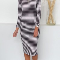 New Black Striped Tie Back Draped Backless Round Neck Long Sleeve Casual Midi Dress