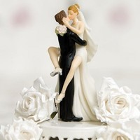 Funny Sexy Wedding Bride and Groom Cake Topper Figurine By Wedding Collectibles