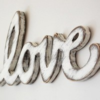 Cottage decor sign rustic white  shabby chic word  by OldNewAgain