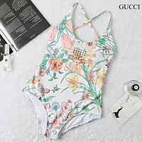 GUCCI New fashion letter leaf floral print straps one piece bikini swimsuit White