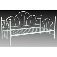 Twin Size White Metal Day Bed Frame with Contemporary Slat Support