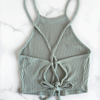 Criss-Cross Ribbed Tank - Pistachio