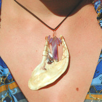 Healing Ocean Waves Shell and Amethyst Pendant