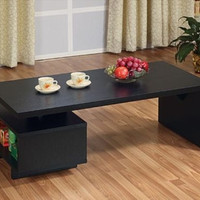 Coffee Table With Storage Open Black Cocktail Living Room Furniture Den Modern
