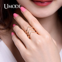 UMODE Latest Chevron Design Resized Ring Micro CZ Pave Rings Gold Color Jewelry for Women Anillos Bague Femme UR0360A