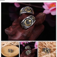 2018 Gold Silver Color Muslim Allah Moon and Star Ring Islam Arabic God Muhammad Quran For Men Middle Eastern Religious Jewelry