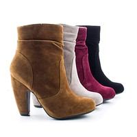 Mozza16 By Sully's, Women's High Heel Chunky Heel Ankle Dress Boots
