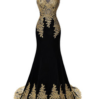 Applique Mermaid Prom Dress,Sleeveless Black Dresses,Evening Dress
