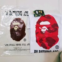 cc hcxx A Bathing Ape Big Ape White Shirt Red Camo