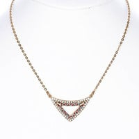 NECKLACE / TRIANGULAR / GEOMETRIC / CRYSTAL STONE / KNITTED / METAL CHAIN / 3/4 INCH DROP / 16 INCH LONG / NICKEL AND LEAD COMPLIANT