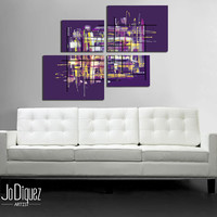 """Original abstract painting. 42x34"""" Modern wall art.  Large painting. 4 piece canvas art. Purple painting with yellow details."""