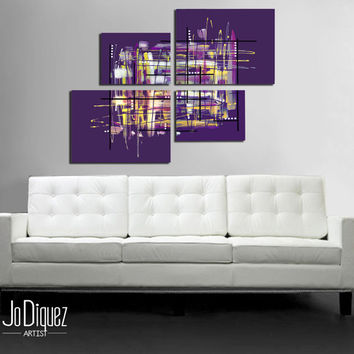 "Original abstract painting. 42x34"" Modern wall art.  Large painting. 4 piece canvas art. Purple painting with yellow details."
