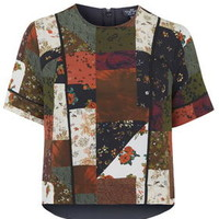 PETITE Patchwork Piped Tee - Multi