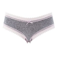 Lavender Combo Lace-Trim Heathered Cheeky Panties by Charlotte Russe