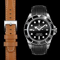 Curved End Leather Strap for Rolex Sea-Dweller with Tang Buckle
