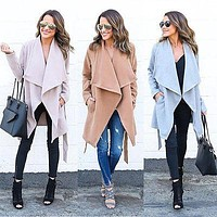 Women Warm Fashion Long Coat  Trench Windbreaker  Outwear