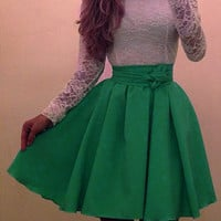 White and Green Long Sleeve Lace Dress