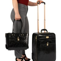 Black Embossed Patent 3 Piece Luggage Set with Spinner Wheels