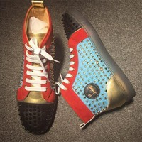 Christian Louboutin CL Louis Spikes Style #1877 Sneakers Fashion Shoes Best Deal Online