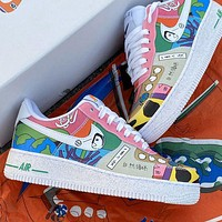 Nike Air Force 1 X Ruohan Wang Illustration Graffiti Logo Low-top Shoes Sneakers White