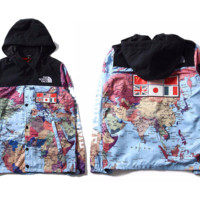 G hcxx World Map North Face x Supreme Windbreaker