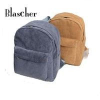 All-match Unisex Retro Corduroy Solid Backpack  Simple Men and Women Backpack HBE87