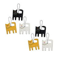 Christmas Cats Ornament Set - 6 Ornaments - 3-1/4-in x 3-1/2-in