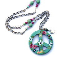 Long Peace Sign Necklace Hand Painted Flowers Boho Jewelry FREE SHIPPING