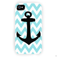 Aqua Blue Anchor Custom Phone Case For iPhone 4 / 4S Case