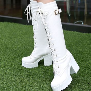 The new high strappy boots with thick heels