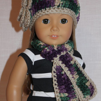crochet beanie hat with flower, long scarf, purple, green, beige mix, 18 inch doll clothes