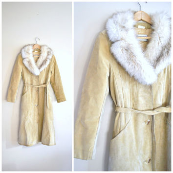 ALMOST FAMOUS long coat / vintage 1970s retro BLONDE suede fur colla princess coat