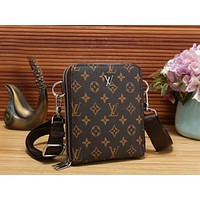 LV New Popular Women Men Shopping Bag Monogram Leather Handbag Shoulder Bag Crossbody Satchel Coffee LV Print I-OM-NBPF