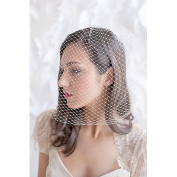 Bridal birdcage veil - multiple lengths colors - ready to ship