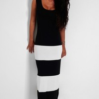 Lorella Black and White Stripe Maxi Dress | Pink Boutique