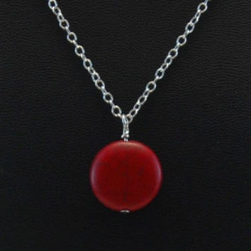 Silver necklace red howlite pendant, red pendant, red necklace