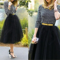 Plus size Fashion Tulle Skirts for Women Midi Black Fluffy Puff Highwaisted Unique Bottoms Skirt Clothes = 1946461572