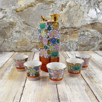Vintage Japanese Sake Set, Whistling Bird Decanter