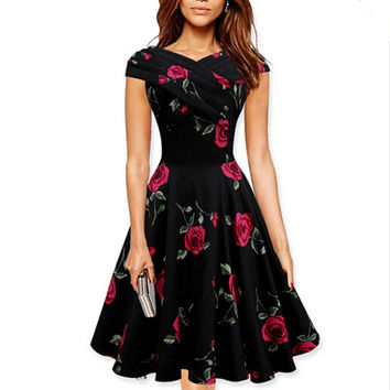 2016 New Women Elegant 50s 60s Vintage Rose Retro Rockabilly Floral Sexy Party Cocktail Skater Wiggle Flare Swing Dress