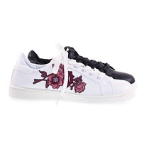 Habit15M By Bamboo Floral Patchwork Embroidered Heat Press Lace Up Sneaker, White Platform