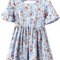 Floral Short Sleeve Mini Dress
